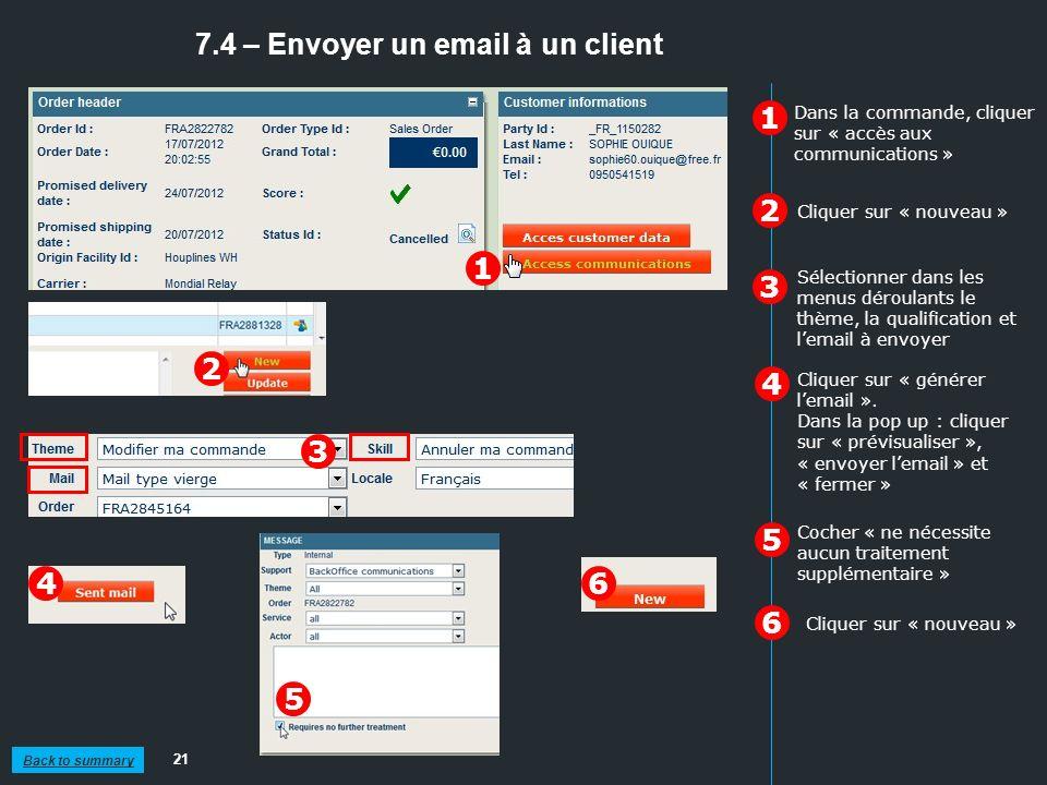7.4 – Envoyer un email à un client