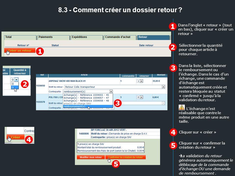 8.3 - Comment créer un dossier retour