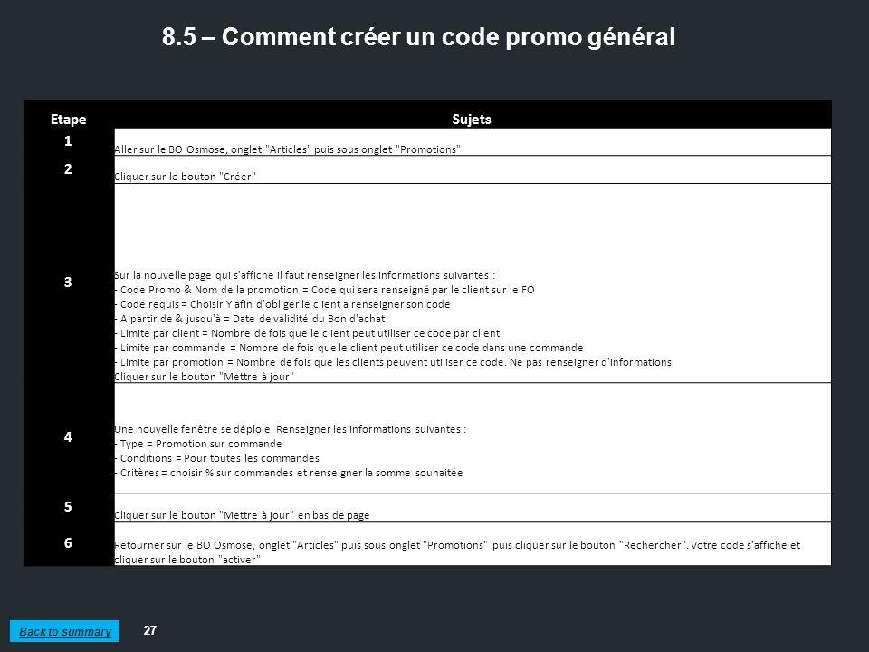 8.5 – Comment créer un code promo général
