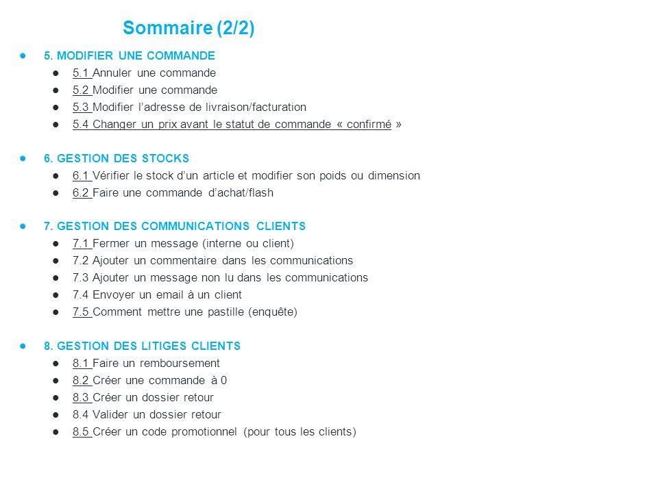 Sommaire (2/2) 5. MODIFIER UNE COMMANDE 5.1 Annuler une commande
