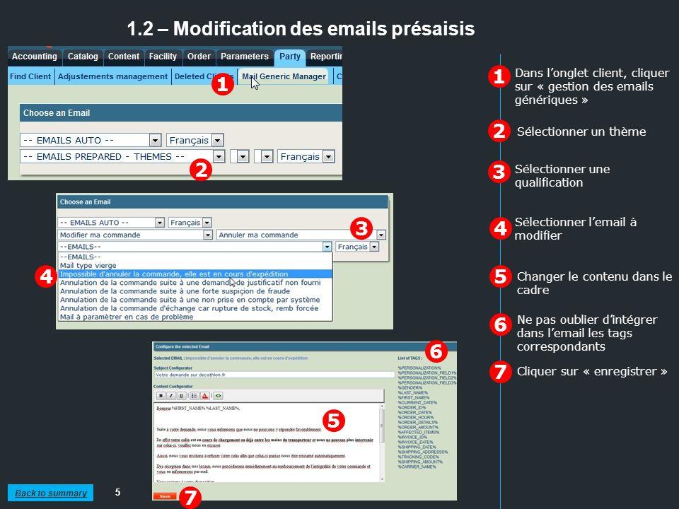 1.2 – Modification des emails présaisis