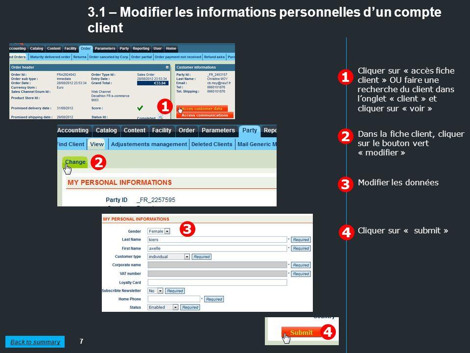 3.1 – Modifier les informations personnelles d'un compte client