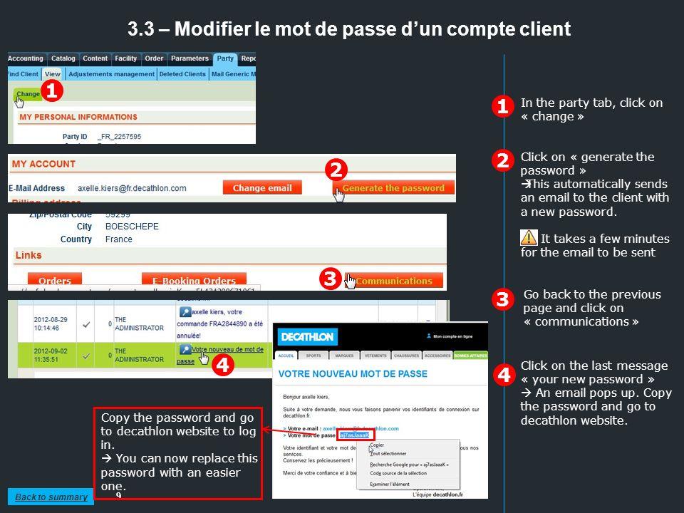 3.3 – Modifier le mot de passe d'un compte client