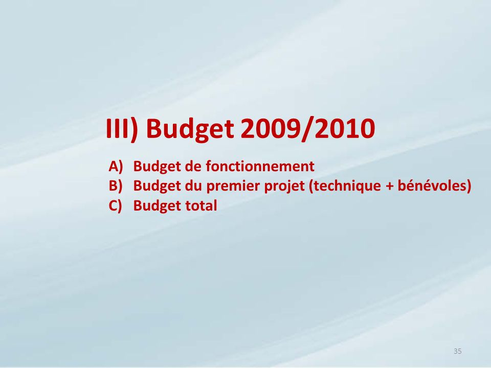 III) Budget 2009/2010 Budget de fonctionnement