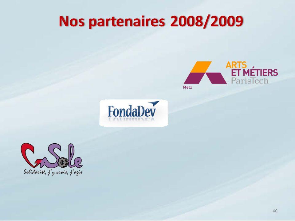 Nos partenaires 2008/2009