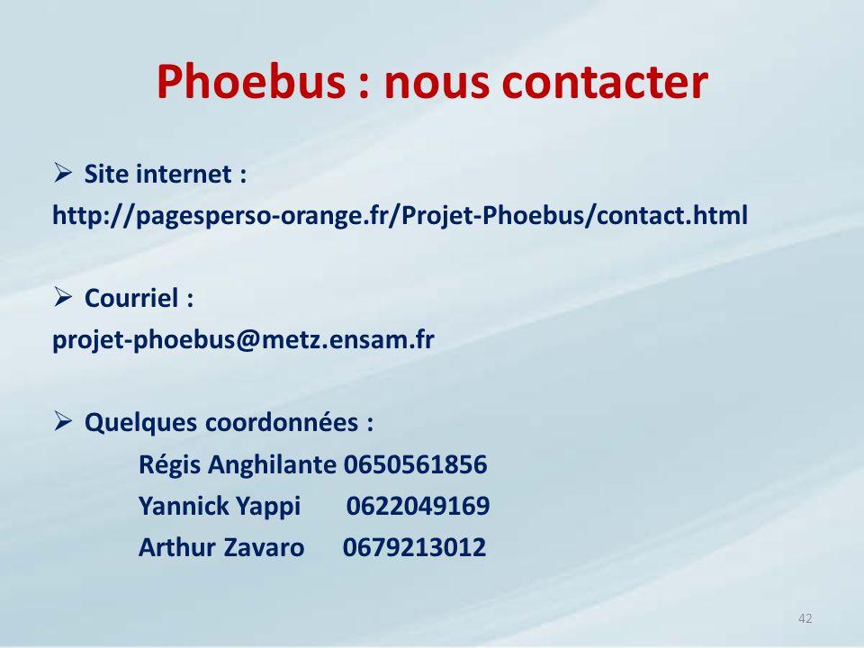 Phoebus : nous contacter