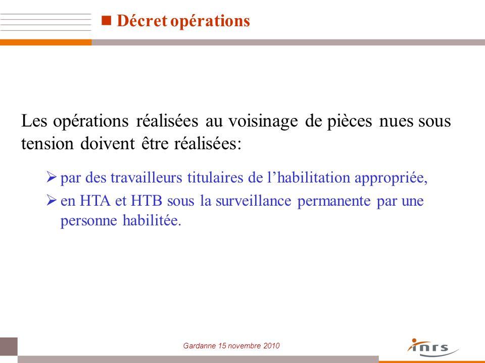 Décret opérations Les opérations réalisées au voisinage de pièces nues sous tension doivent être réalisées: