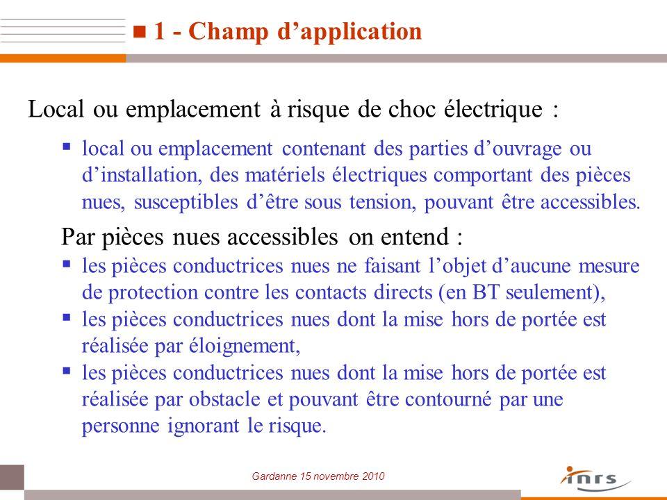 Local ou emplacement à risque de choc électrique :