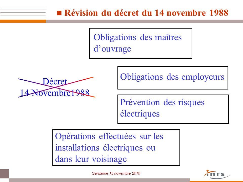 Révision du décret du 14 novembre 1988