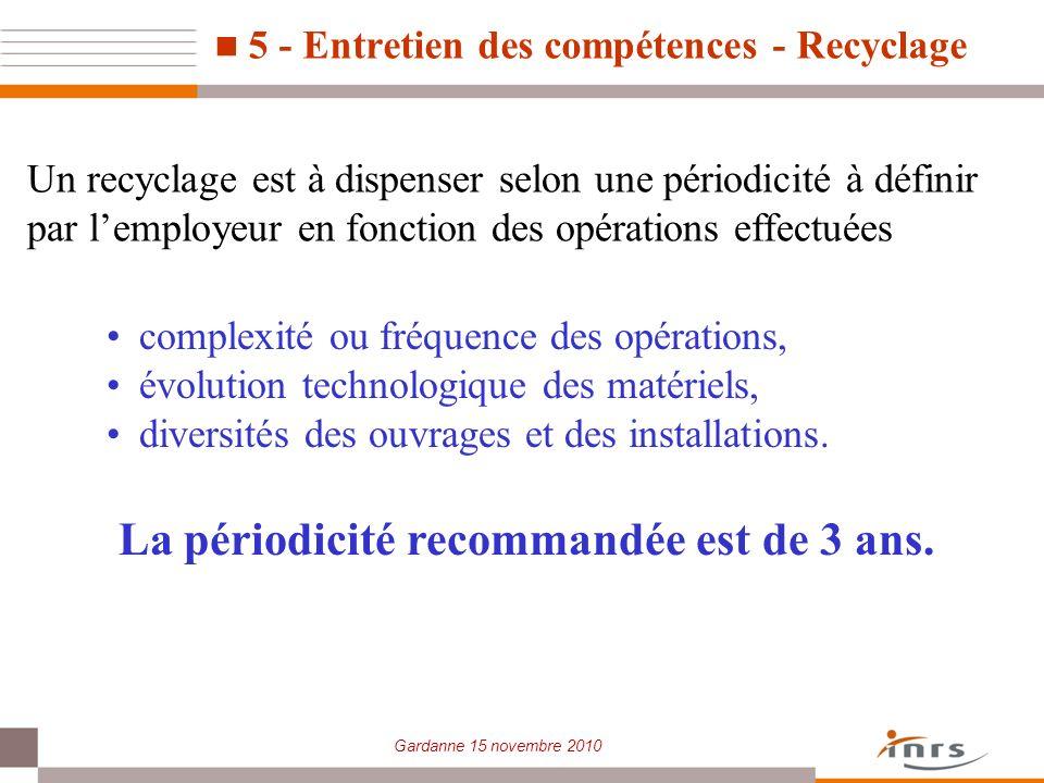 5 - Entretien des compétences - Recyclage