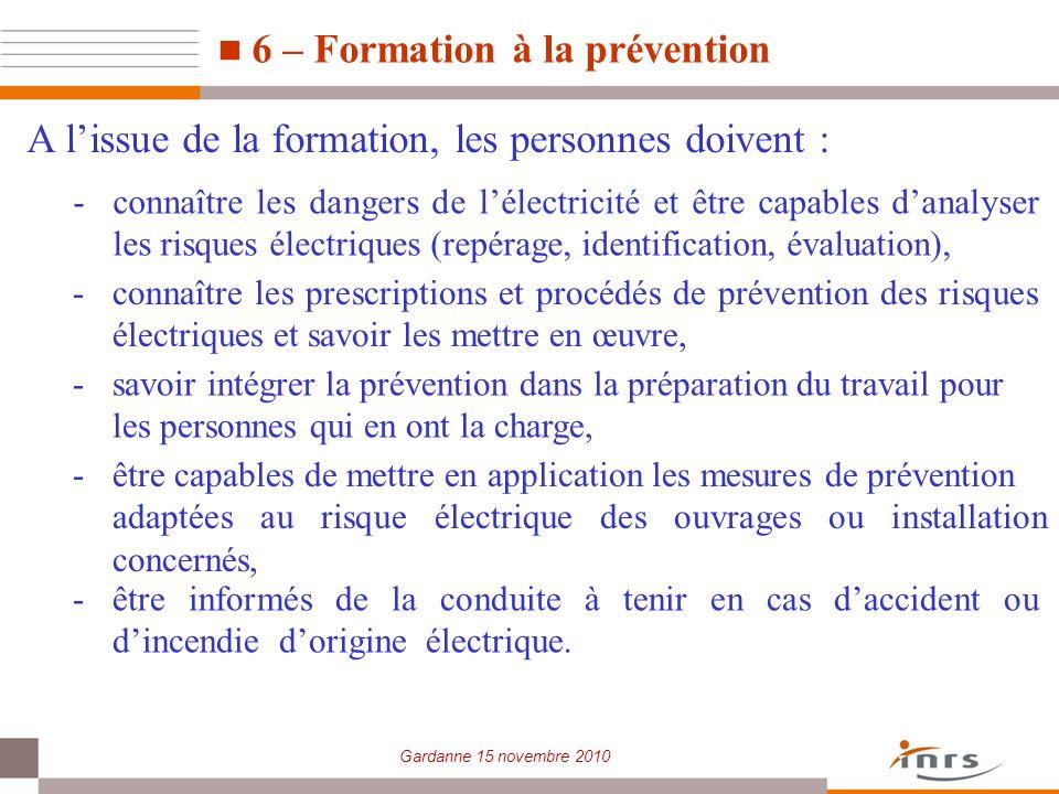 6 – Formation à la prévention