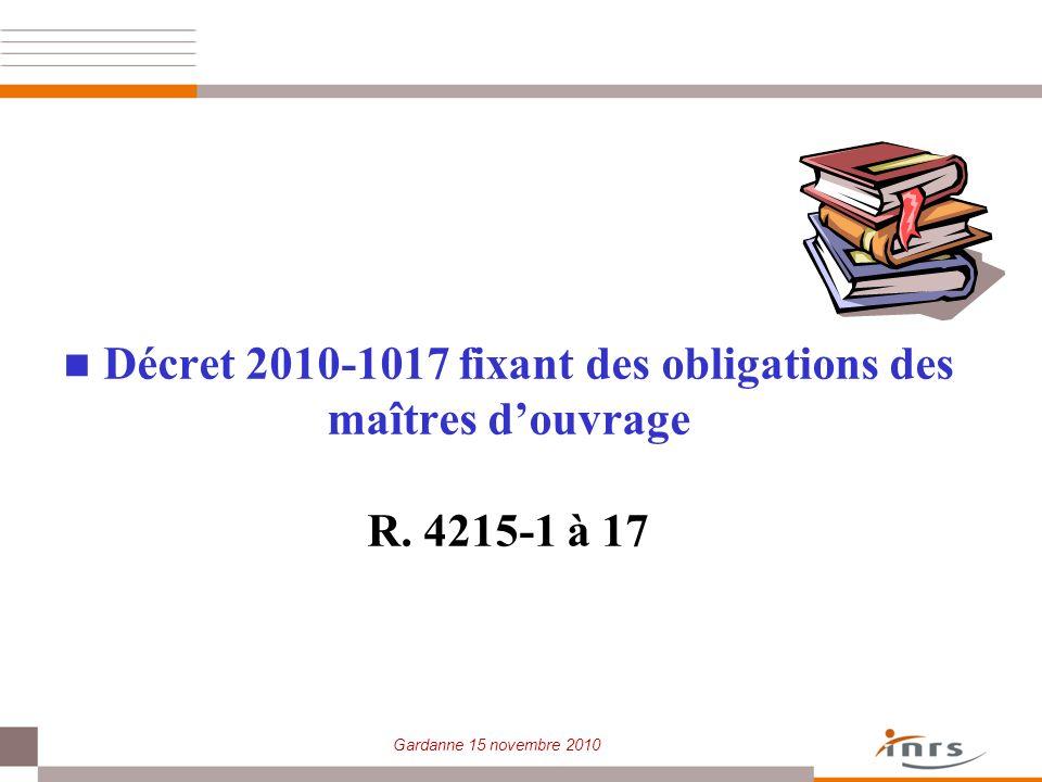 Décret 2010-1017 fixant des obligations des maîtres d'ouvrage R