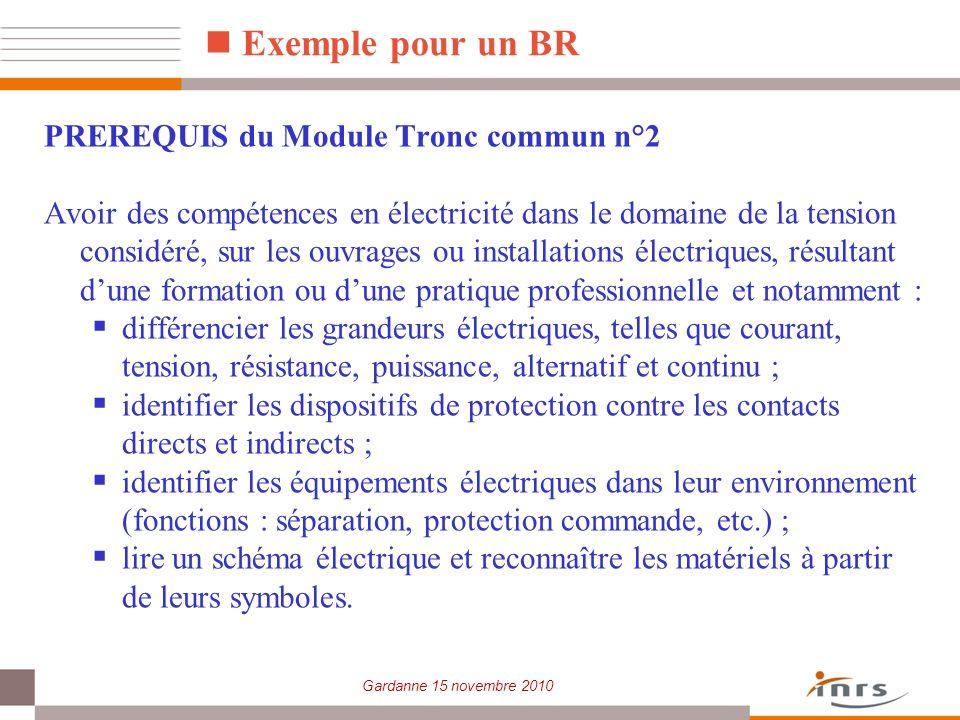 Exemple pour un BR PREREQUIS du Module Tronc commun n°2