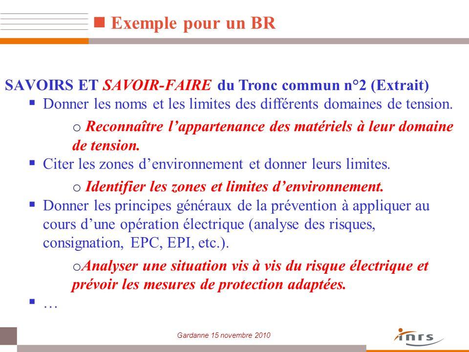 Exemple pour un BR SAVOIRS ET SAVOIR-FAIRE du Tronc commun n°2 (Extrait) Donner les noms et les limites des différents domaines de tension.