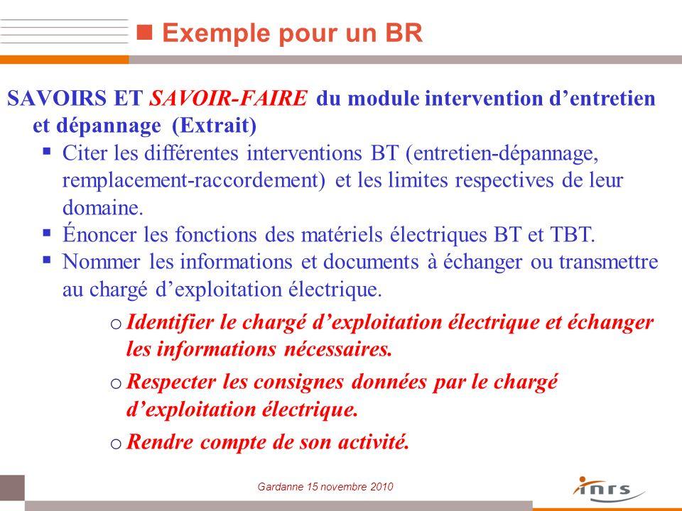 Exemple pour un BR SAVOIRS ET SAVOIR-FAIRE du module intervention d'entretien et dépannage (Extrait)