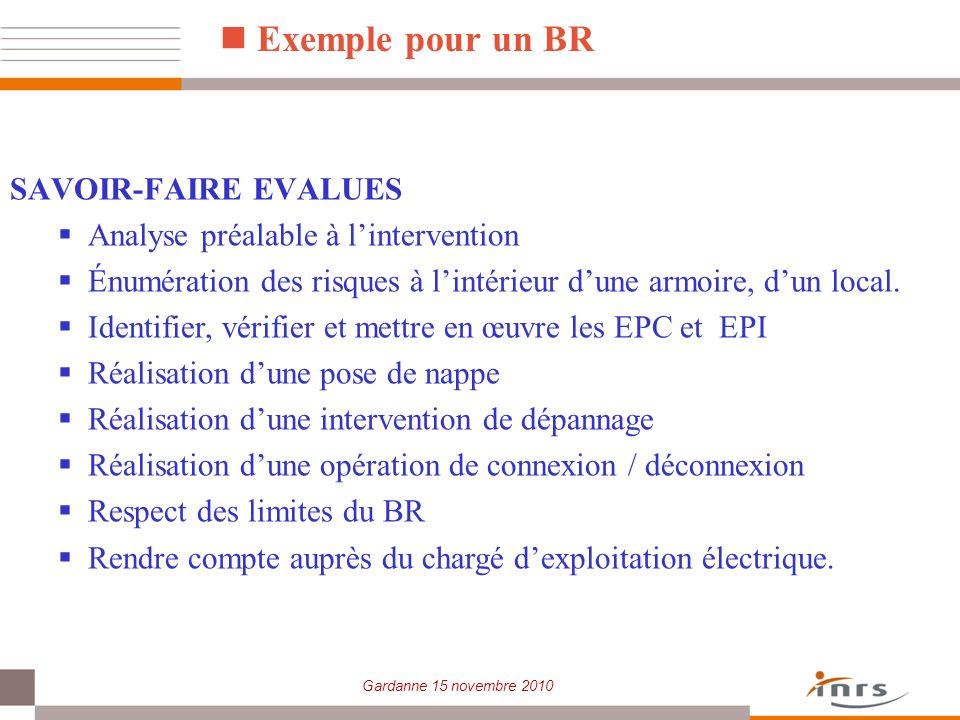 Exemple pour un BR SAVOIR-FAIRE EVALUES