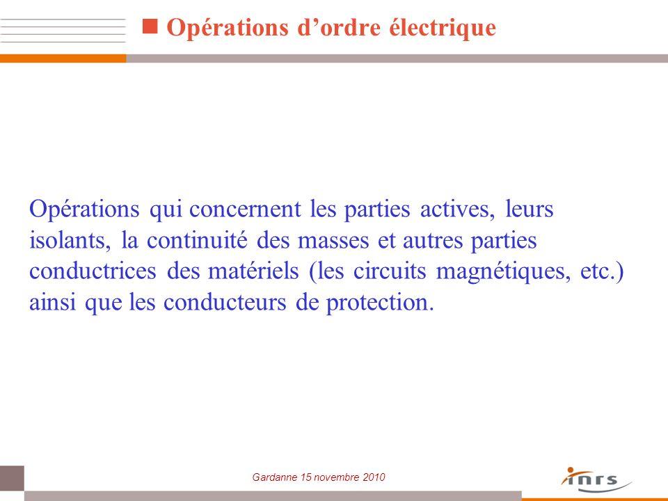 Opérations d'ordre électrique