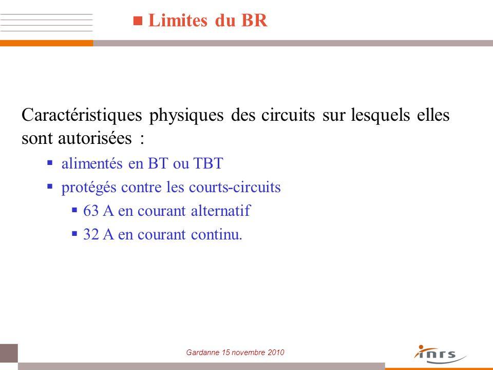 Limites du BR Caractéristiques physiques des circuits sur lesquels elles sont autorisées : alimentés en BT ou TBT.