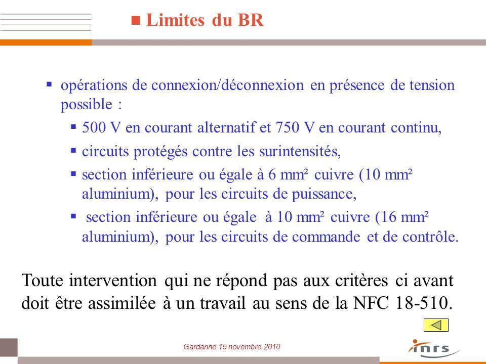 Limites du BR opérations de connexion/déconnexion en présence de tension possible : 500 V en courant alternatif et 750 V en courant continu,
