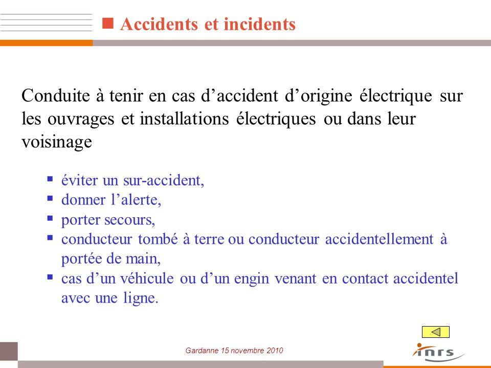 Accidents et incidents
