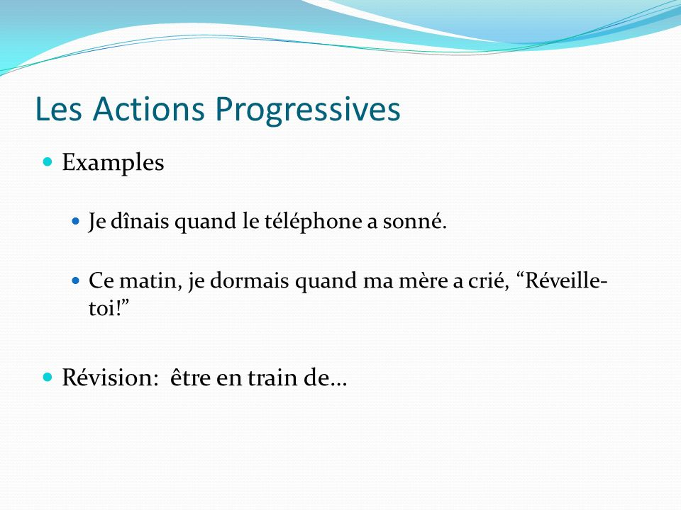 Les Actions Progressives