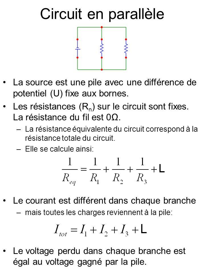 Circuit en parallèle La source est une pile avec une différence de potentiel (U) fixe aux bornes.