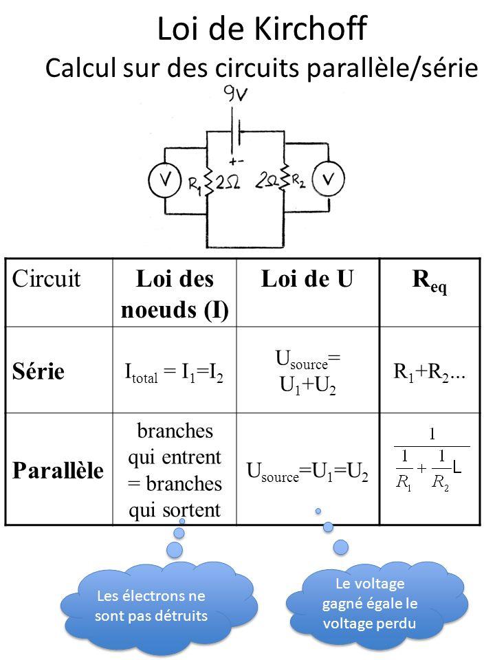 Loi de Kirchoff Calcul sur des circuits parallèle/série