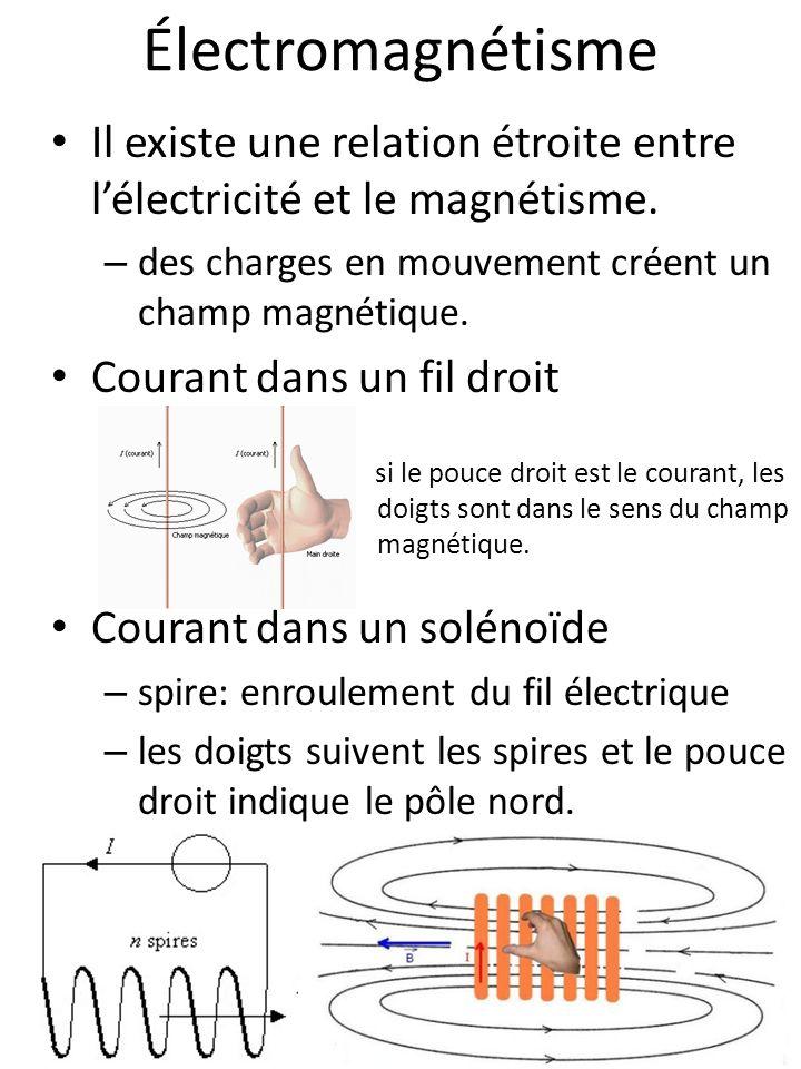 Électromagnétisme Il existe une relation étroite entre l'électricité et le magnétisme. des charges en mouvement créent un champ magnétique.