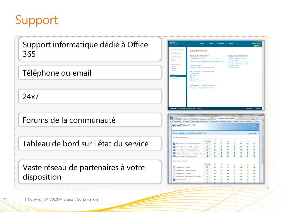 Support Support informatique dédié à Office 365 Téléphone ou email