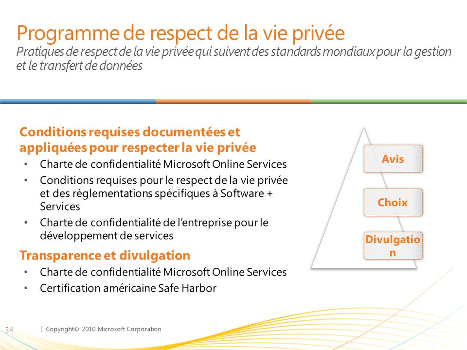 Programme de respect de la vie privée Pratiques de respect de la vie privée qui suivent des standards mondiaux pour la gestion et le transfert de données