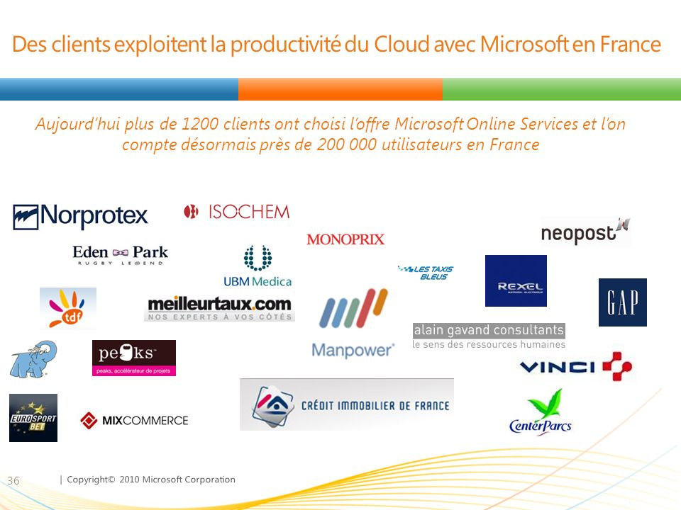 Des clients exploitent la productivité du Cloud avec Microsoft en France