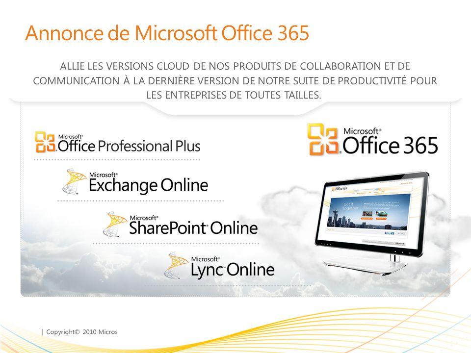 Annonce de Microsoft Office 365