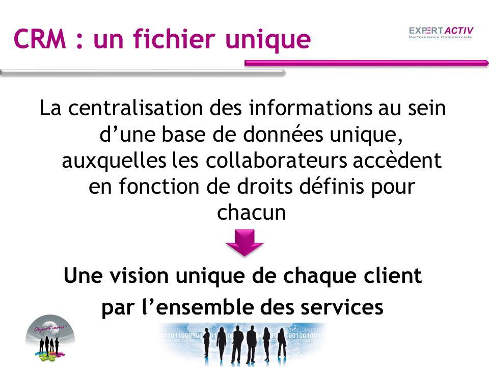 Une vision unique de chaque client par l'ensemble des services