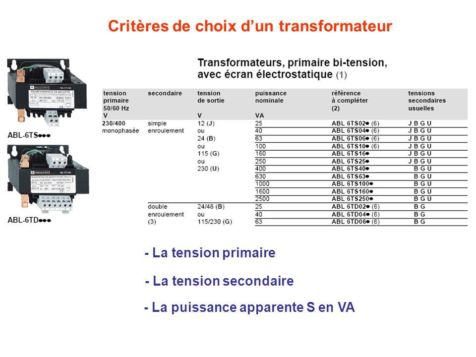 Critères de choix d'un transformateur