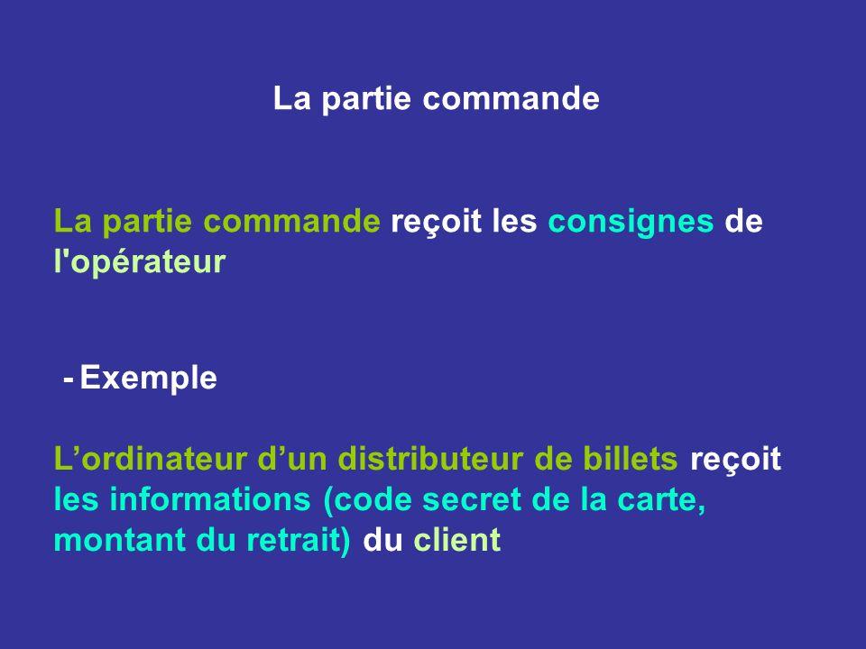 La partie commande La partie commande reçoit les consignes de l opérateur. - Exemple.