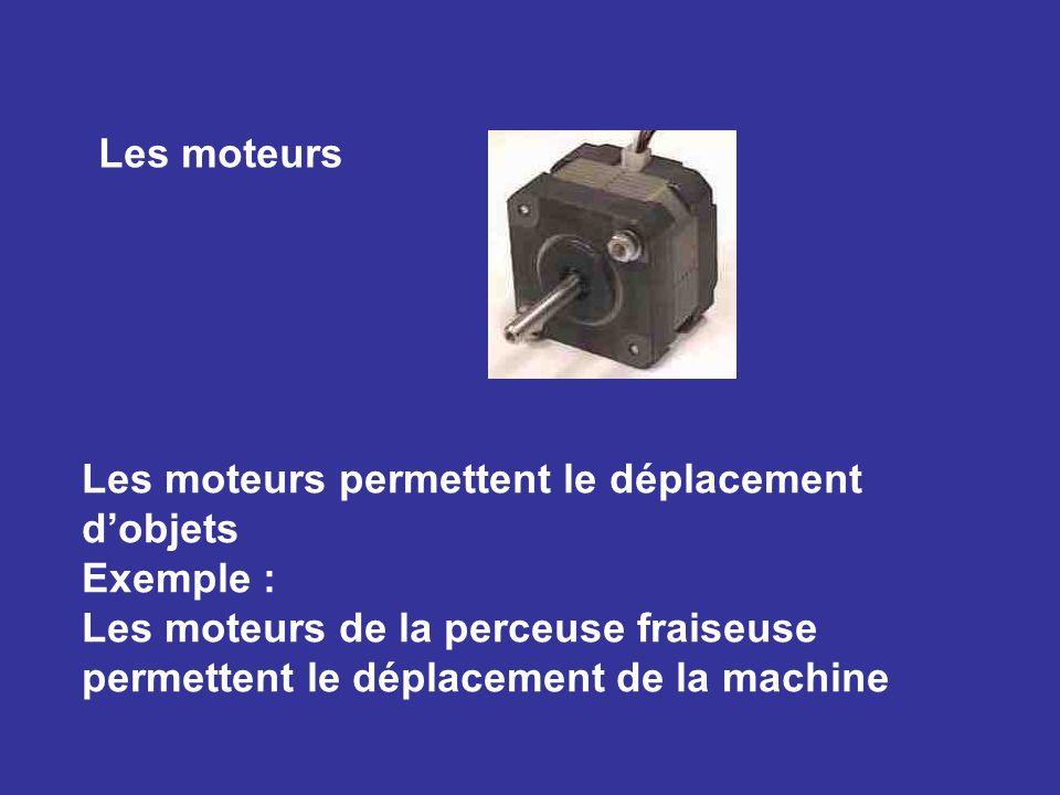 Les moteurs Les moteurs permettent le déplacement d'objets.