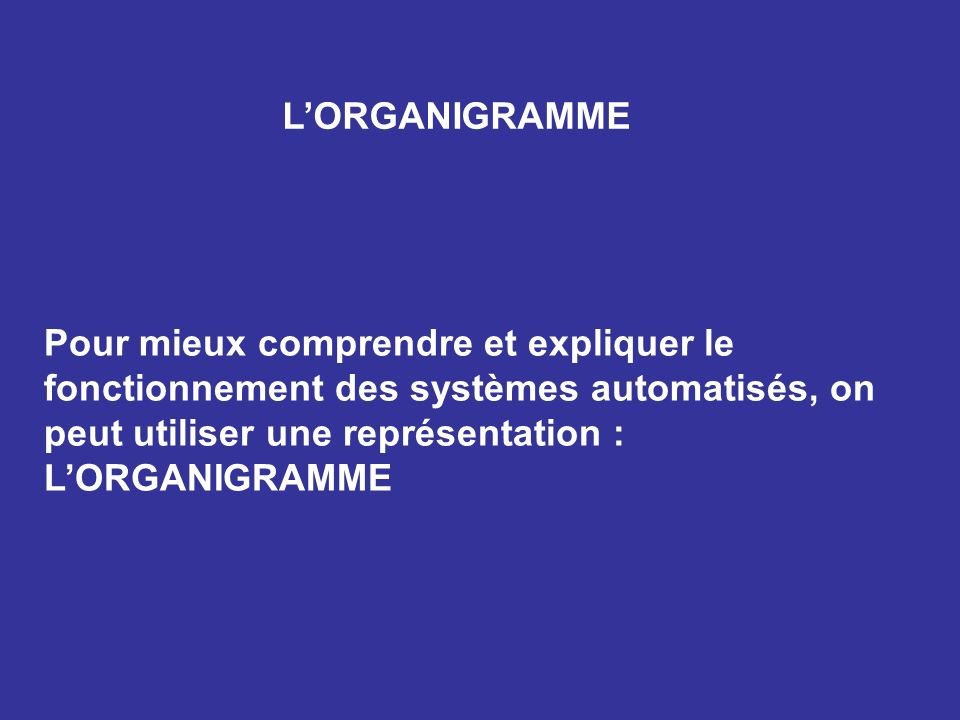 L'ORGANIGRAMME Pour mieux comprendre et expliquer le fonctionnement des systèmes automatisés, on peut utiliser une représentation : L'ORGANIGRAMME.