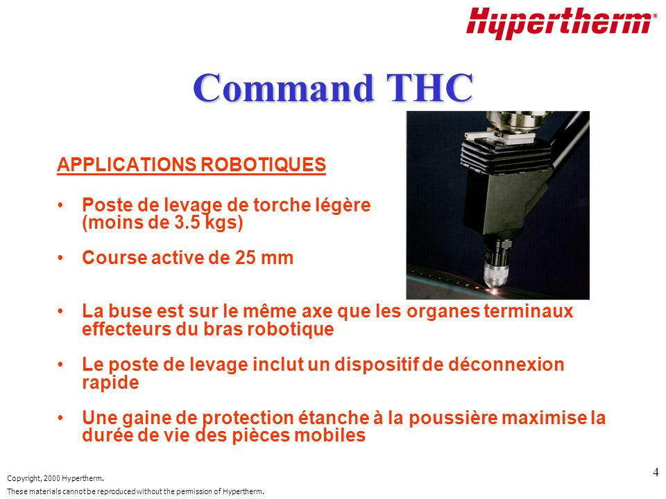 Command THC APPLICATIONS ROBOTIQUES