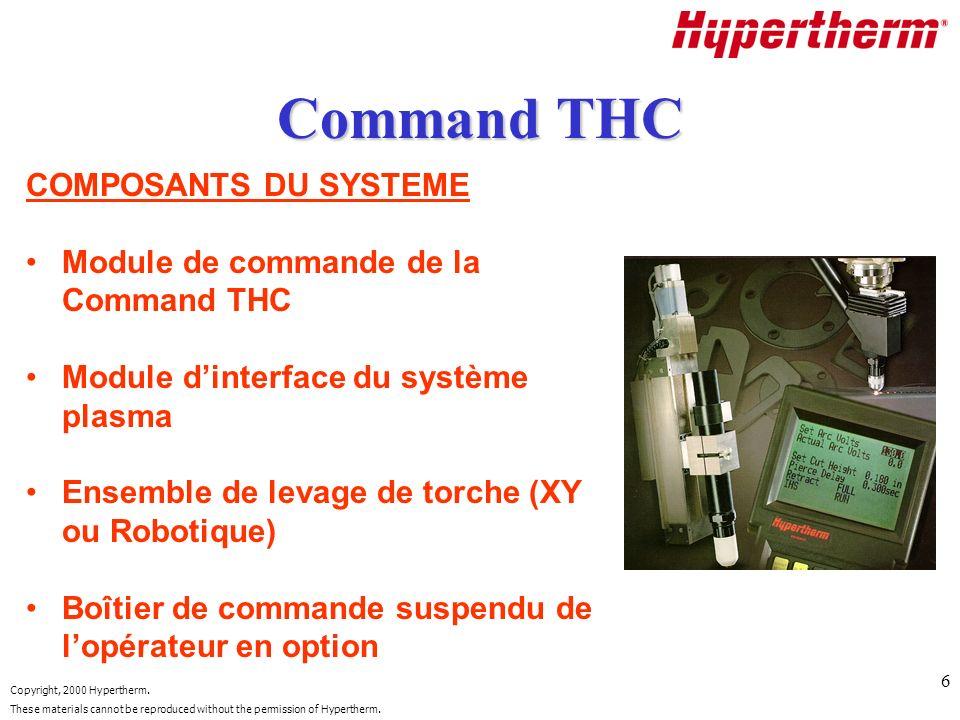 Command THC COMPOSANTS DU SYSTEME Module de commande de la Command THC