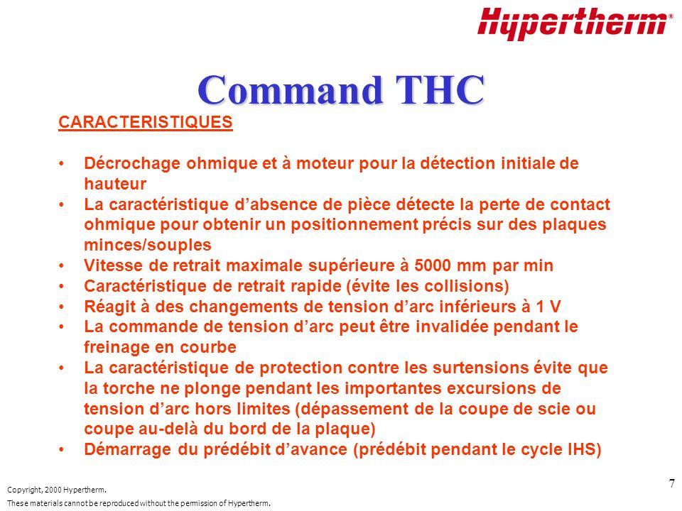 Command THC CARACTERISTIQUES