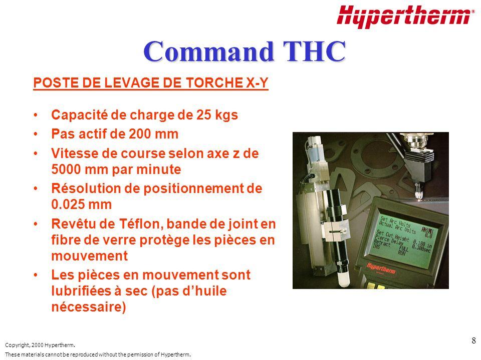 Command THC POSTE DE LEVAGE DE TORCHE X-Y Capacité de charge de 25 kgs
