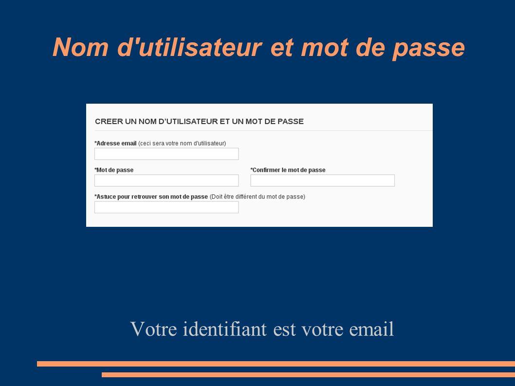 Nom d utilisateur et mot de passe