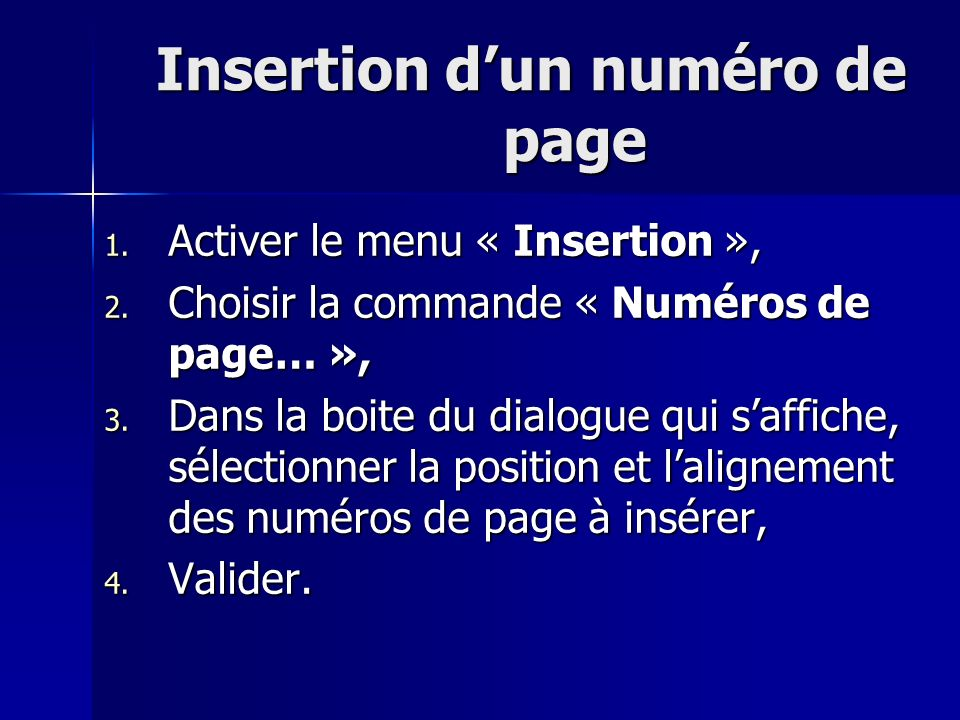 Insertion d'un numéro de page