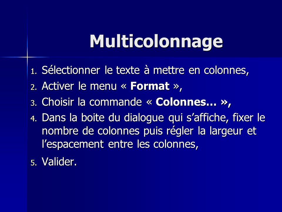 Multicolonnage Sélectionner le texte à mettre en colonnes,