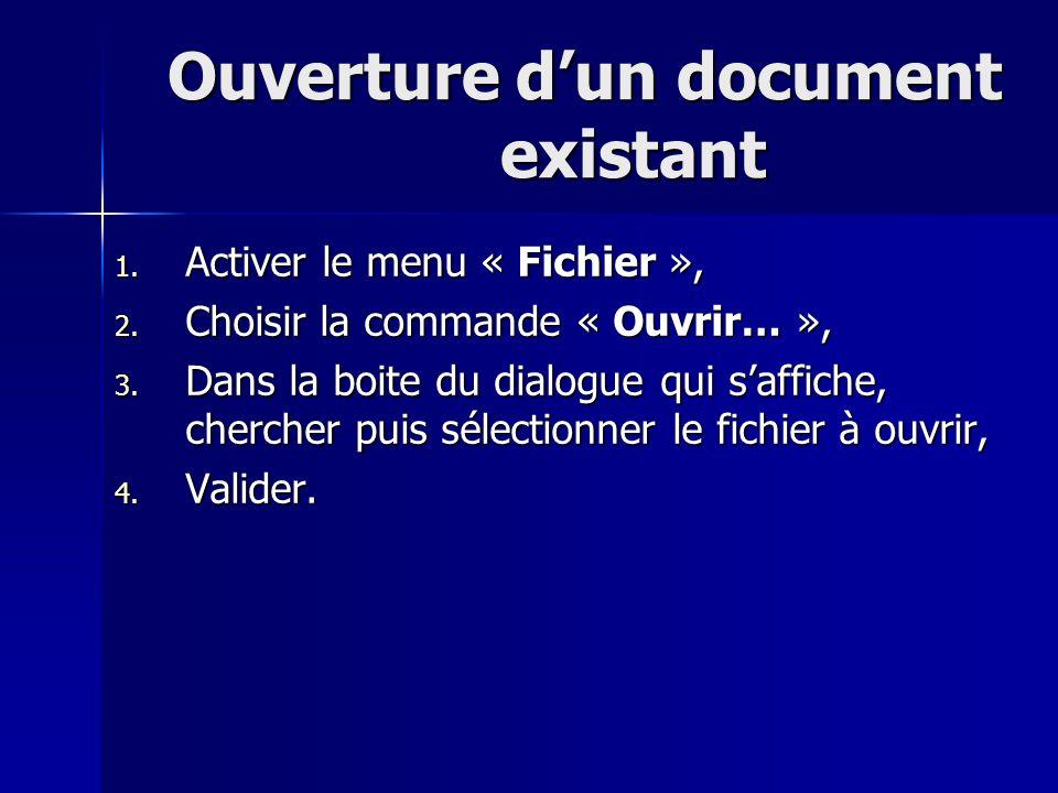 Ouverture d'un document existant