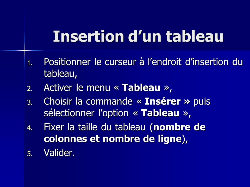 Insertion d'un tableau