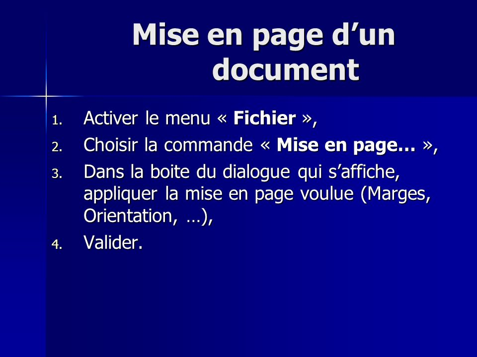Mise en page d'un document