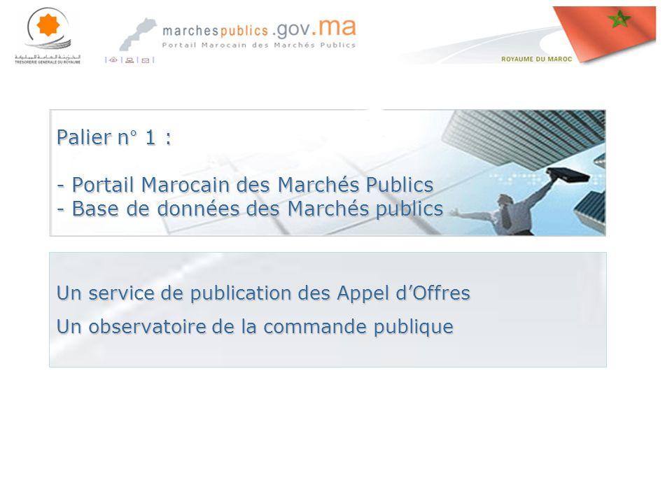 Palier n° 1 : - Portail Marocain des Marchés Publics - Base de données des Marchés publics