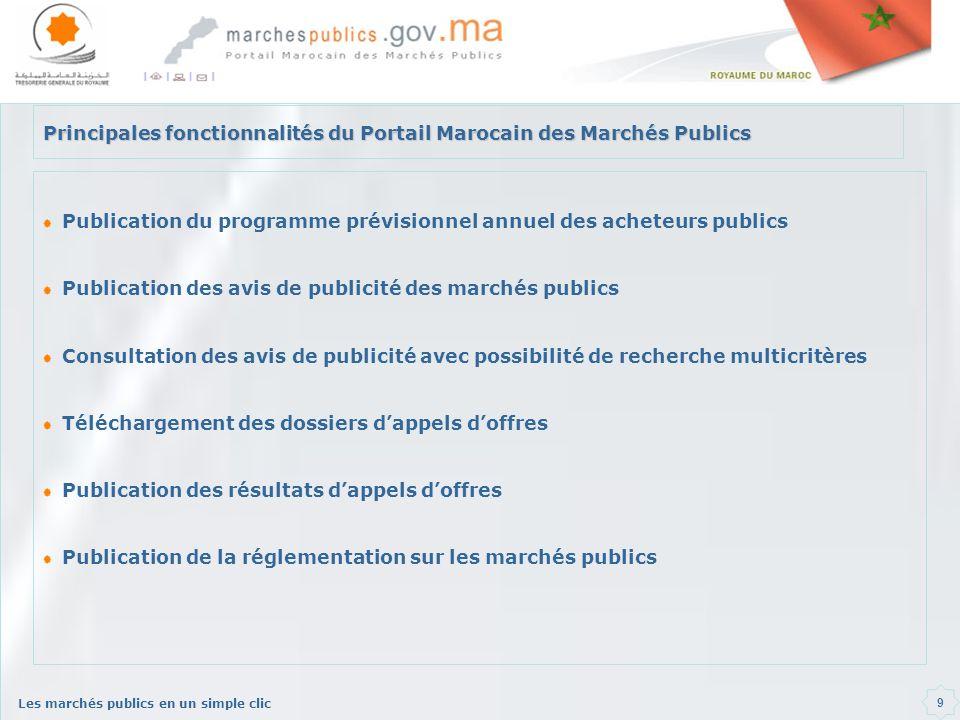 Principales fonctionnalités du Portail Marocain des Marchés Publics