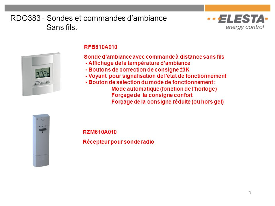 RDO383 - Sondes et commandes d'ambiance Sans fils: